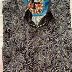 Robert Graham black print shirt- Large